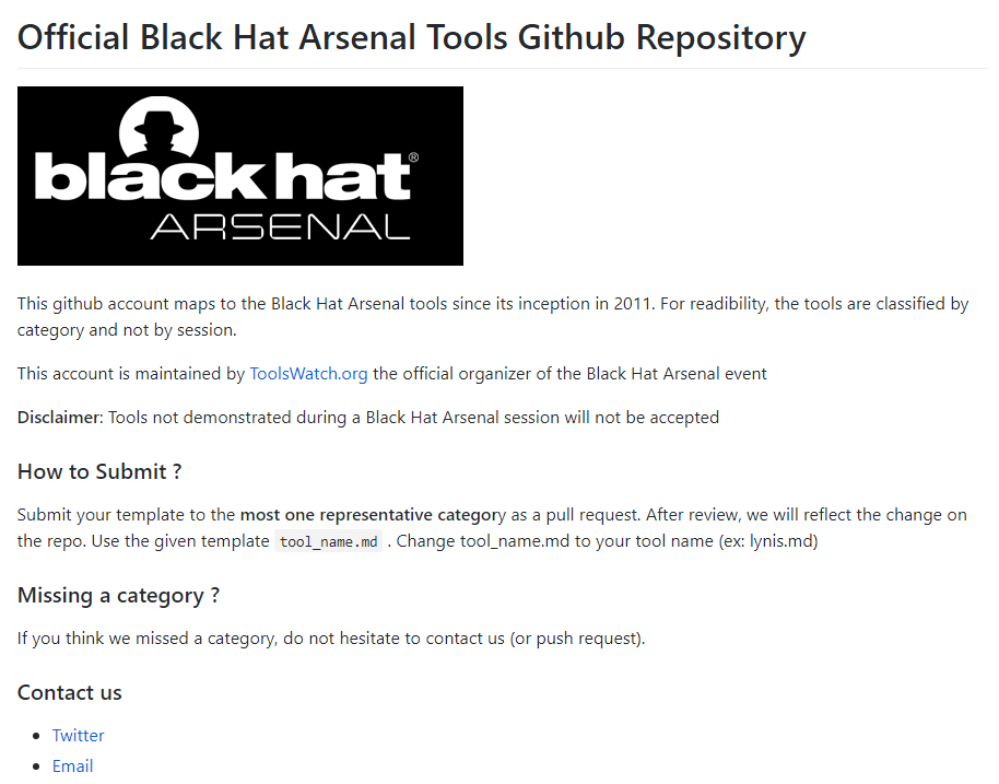 1b91a5c2fcb Black Hat Arsenal released official Github Repository for Security Tools
