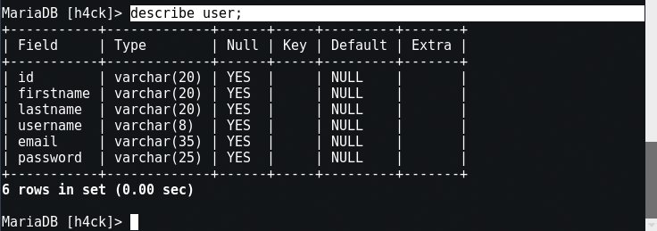 how to create table in mysql command line