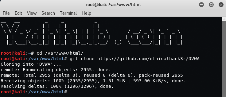 Install DVWA (Damn Vulnerable Web Application) in Kali Linux