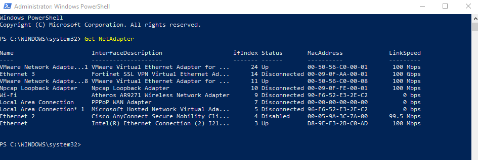 Enable/Disable a Network Connection using WMIC, NETSH and POWERSHELL
